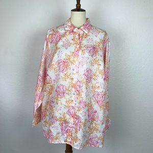 J. Jill Print Linen Button Down Top